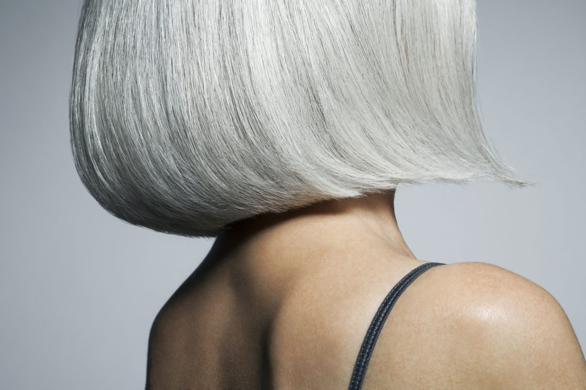 Profile Of A Grey Haired Woman In A Bob, Cropped.